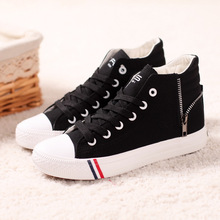 Women High-Top Canvas Shoes Side Zipper Spring And Summer Shoes Platform Breathable Women casual shoes