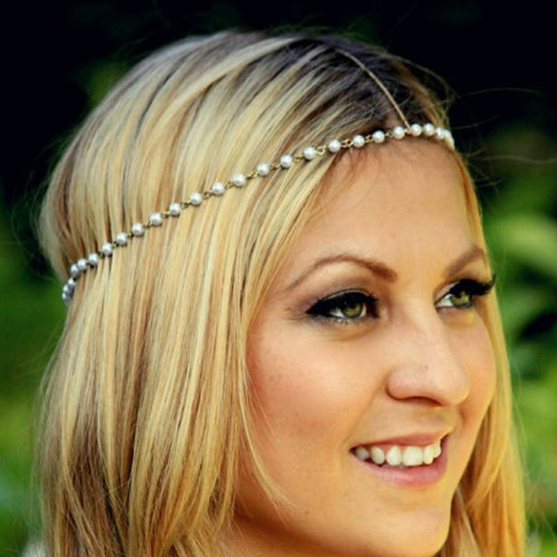 Metal Punk Forehead Headband Gold Multi Layer Indian Boho Head Chain Pearl Headpiece Trendy Hair Accessories Jewelry For Women