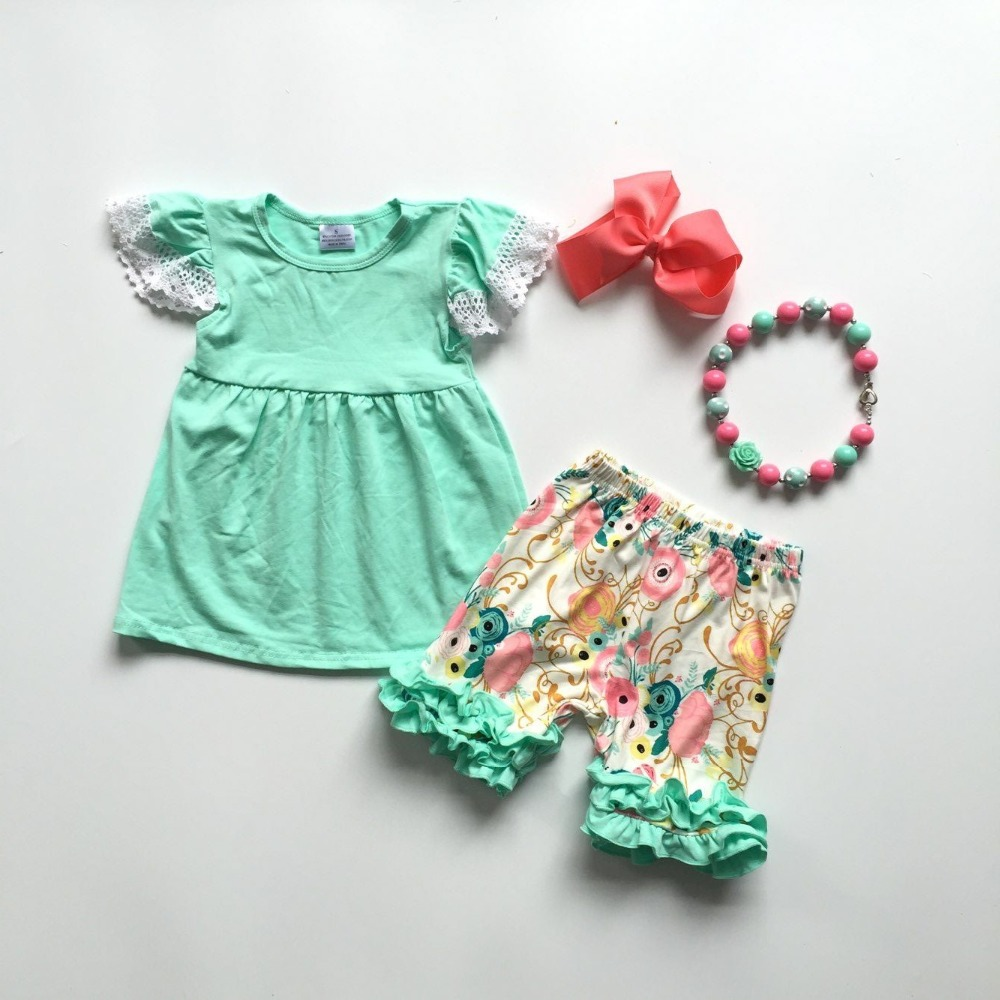 Baby Girls Summer New Arrival Green Outfits With Lace Sleeve Floral Ruffle Pants Baby Girls Boutique Clothes With Accessoies