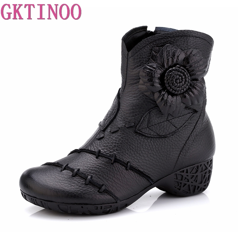 GKTINOO 2018 Women Shoes Winter Female Genuine Leather Boots Handmade Flower Vintage Style Ankle Boots Fashion BootsGKTINOO 2018 Women Shoes Winter Female Genuine Leather Boots Handmade Flower Vintage Style Ankle Boots Fashion Boots