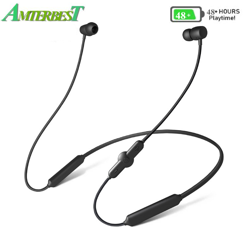 цена на AMTERBEST CSR Wireless Bluetooth Sports Earphone IPX5 Waterproof 48H Music Wireless Headphone with Microphone Neckband Headset