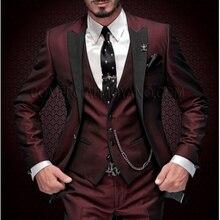 Бренд, смокинг для жениха,, на заказ, винно-красный, мужские костюмы, Terno, приталенный, с острым отворотом, Женихи, мужские, свадебные, выпускные костюмы