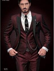 Мужской свадебный костюм-смокинг, приталенный костюм винно-красного цвета с острыми лацканами, на заказ, 2019