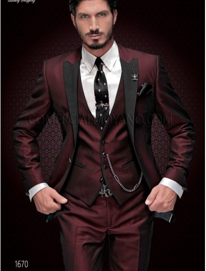 New Brand Groom Tuxedo Suit 2019 Custom Made Wine Red Men Suits Terno Slim Fit Peaked Lapel Groomsmen Men Wedding Prom Suits