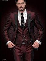 New Brand Groom Tuxedo Suit 2018 Custom Made Wine Red Men Suits Terno Slim Fit Peaked Lapel Groomsmen Men Wedding Prom Suits