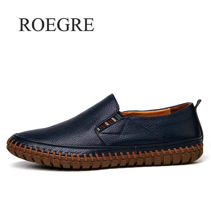 ROEGRE Big Size Men Genuine Leather Shoes Moccasins Slip On Real Leather Black Shoes Mens Loafers Shoes Italian Design Shoes