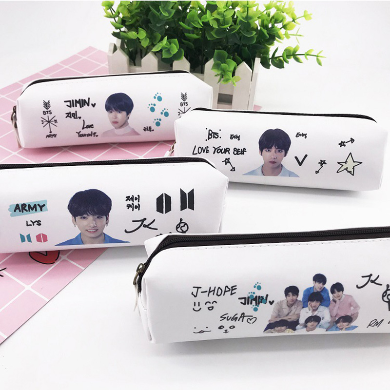New Korean BTS Singer Star PU Material Pencil Case Bangtan Boys Pencil Box  Bag Fans Gifts Stationery Pouch Supply