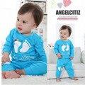 100% Resorte del Algodón de la Impresión de Algodón lindo del Bebé Fijado Ropa de Manga larga Establece Tops + Pants 2 Unids ropa de bebé meses