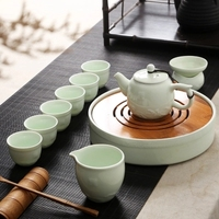 Ceramic tea set of Kung Fu tea cup teapot tea table wood household contracted