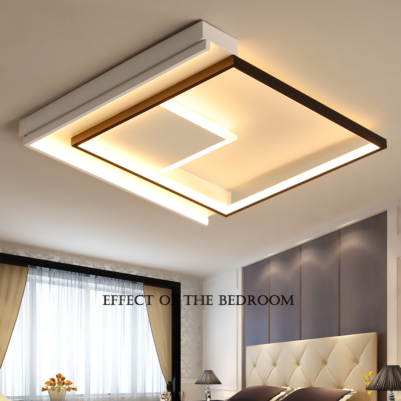 Simple modern bedroom led ceiling lights square personalized study atmospheric master bedroom room ceiling lamp White