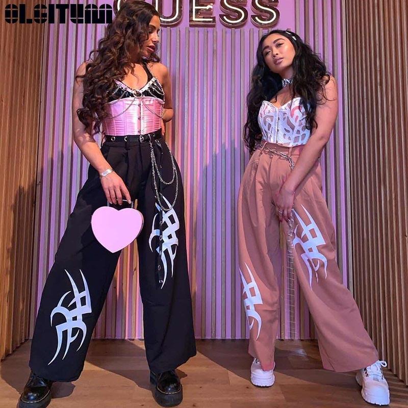 New   Wide     Leg     Pants   Women Harajuku High Waist Black Printed Casual Ladies Trousers Pink Punk Sweatpants Streetwear Summer PT295
