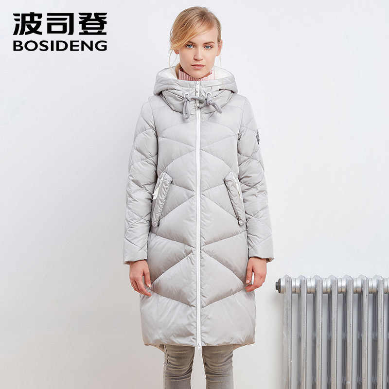 BOSIDENG, зимний пуховик для женщин, длинный пуховик, теплая парка, толстый капюшон, верхняя одежда, алмазная текстура, водонепроницаемый, B1601250