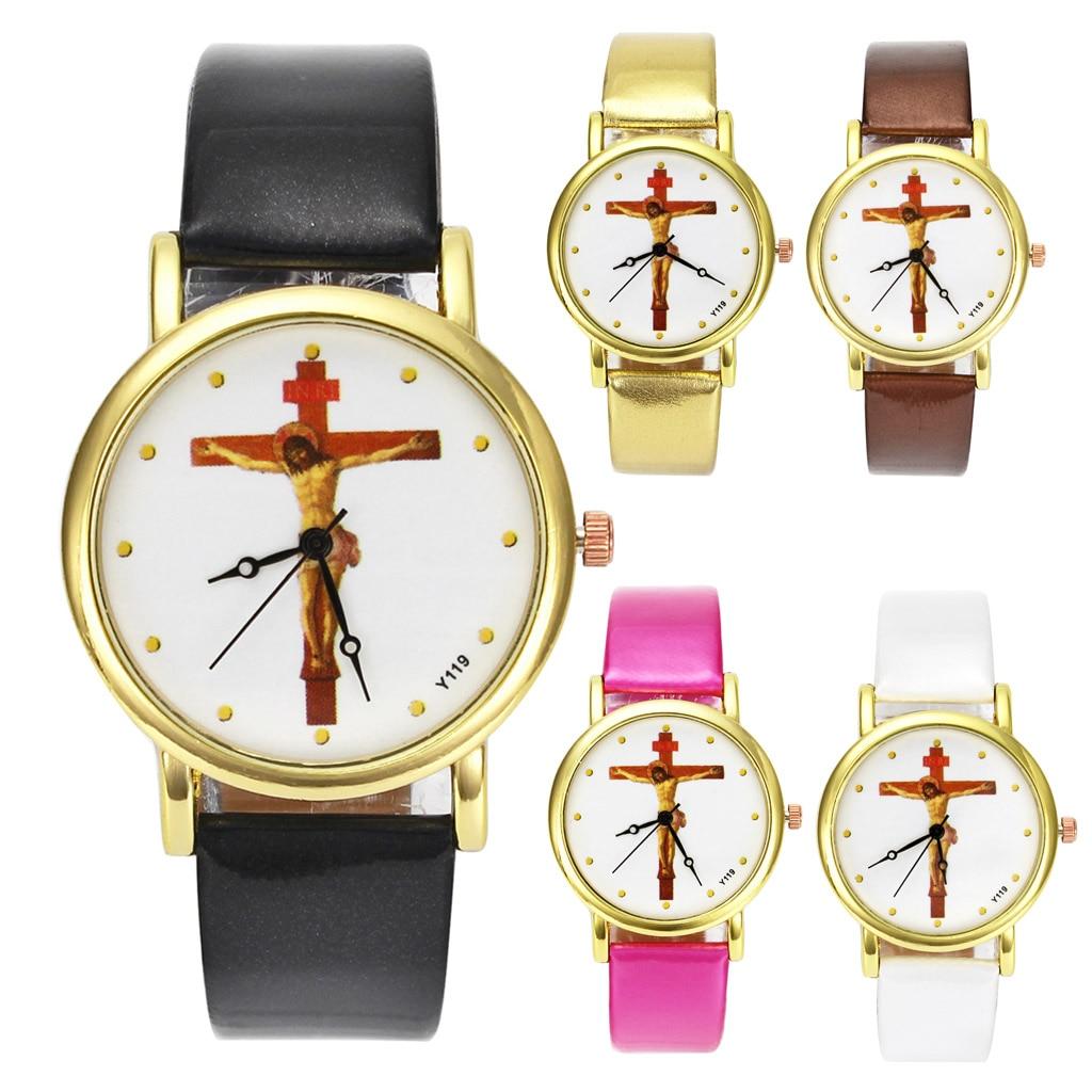 Ο Ιησούς Χριστός Σταύρωση Σταυρός Χριστιανισμός Χριστιανισμός Θρησκευτικές Casual Ρολόγια Χρυσό περίπτωση συγκρότημα καρπό ρολόι