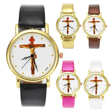 Jesus Christ Crucifixion Cross Christian Christianity Religious Casual Watches Gold Case Band Wrist Watch