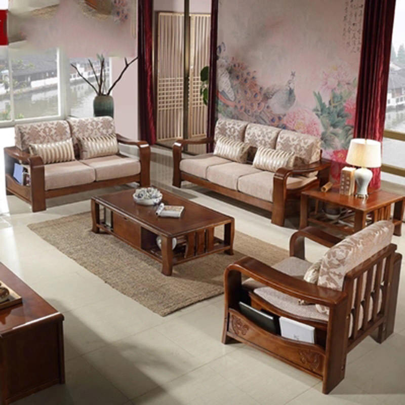 Furniture living modern Solid wood Simple Square sofa coffee table combination furniture parlor marble combination wood adjustable tv cabinet coffee table