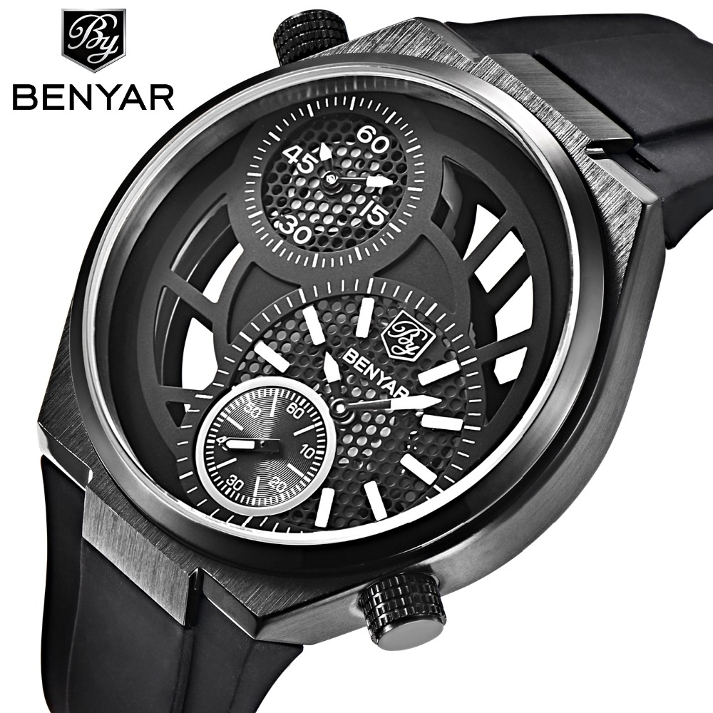 BENYAR Fashion Hollow Sports Military Watches Men Big Dial Design Dual Time Zone Waterproof Mens Quartz-Watch Relogio Masculino men s waterproof sports watch multifunctional watch w dual time zone led