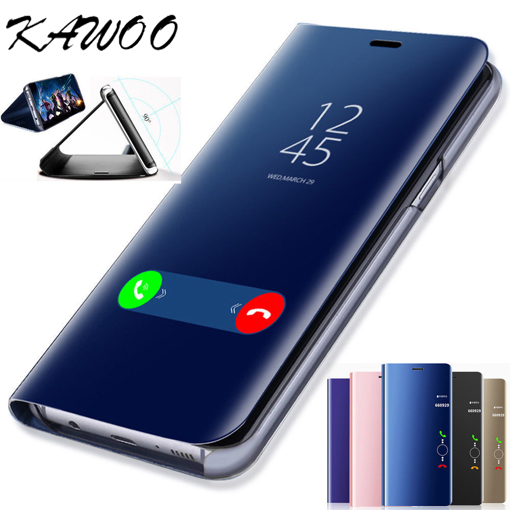 For Samsung Galaxy A5 2017 Luxury Mirror View Plating Smart Case Stand Cover For Samsung Galaxy S8 S9 Note 8 S6 S7 A3 2017 J530 S9 all 2 Lo