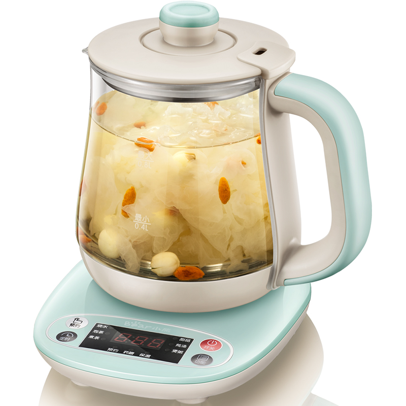Automatic Mini Health Pot Thicker Glass Nourishing Soup Porridge Pot Stainless Steel Heating Kettle Elegent Green Free Shipping homeleader 7 in 1 multi use pressure cooker stainless instant pressure led pot digital electric multicooker slow rice soup fogao