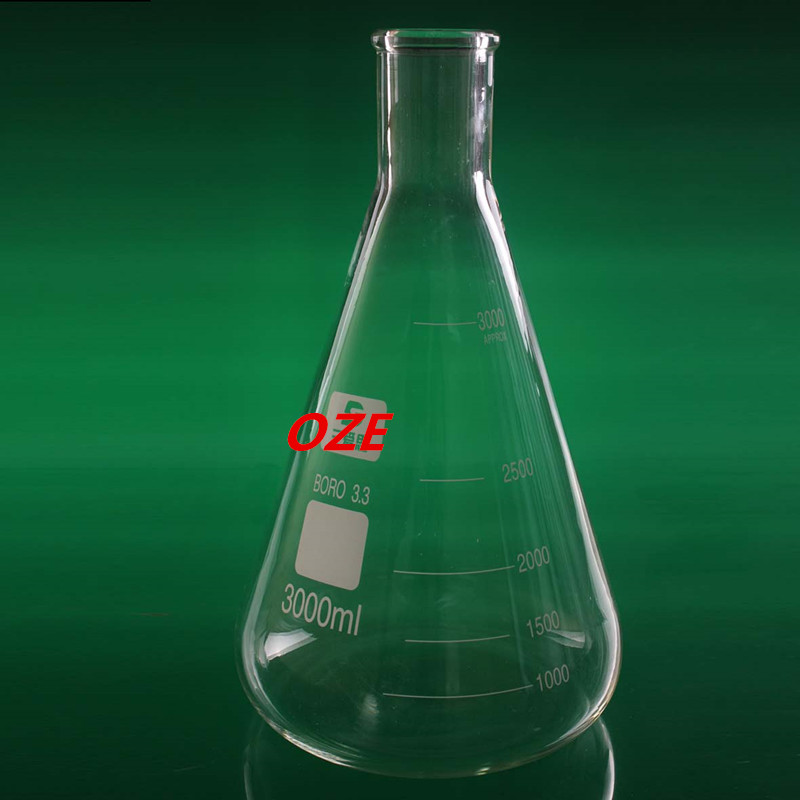 1PCS Narrow Neck Borosilicate Glass Conical Erlenmeyer Flask For Laboratory 3000ML1PCS Narrow Neck Borosilicate Glass Conical Erlenmeyer Flask For Laboratory 3000ML