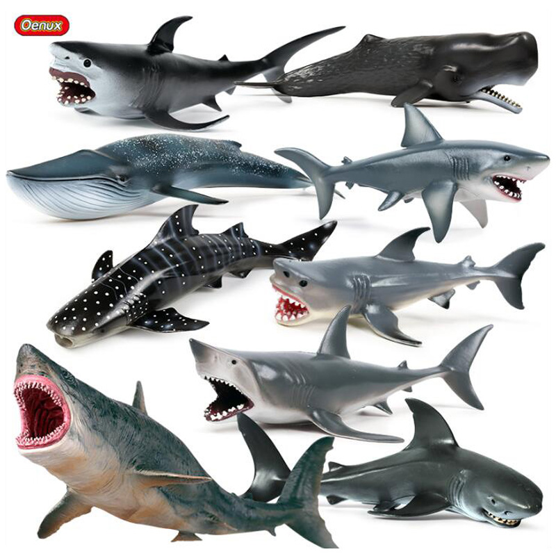 Oenux New Sea Life Ocean Marine Animals Megalodon Whale Big Shark Model Action Figure PVC Shark Animals Figurines Toy Kids Gift