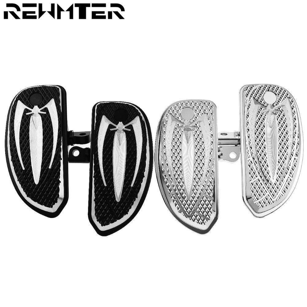 Motorcycle Front Rear Black Chrome Footpegs Footrests Floorboards Foot Pegs For Harley Touring Sportster 883 1200 Softail Dyna