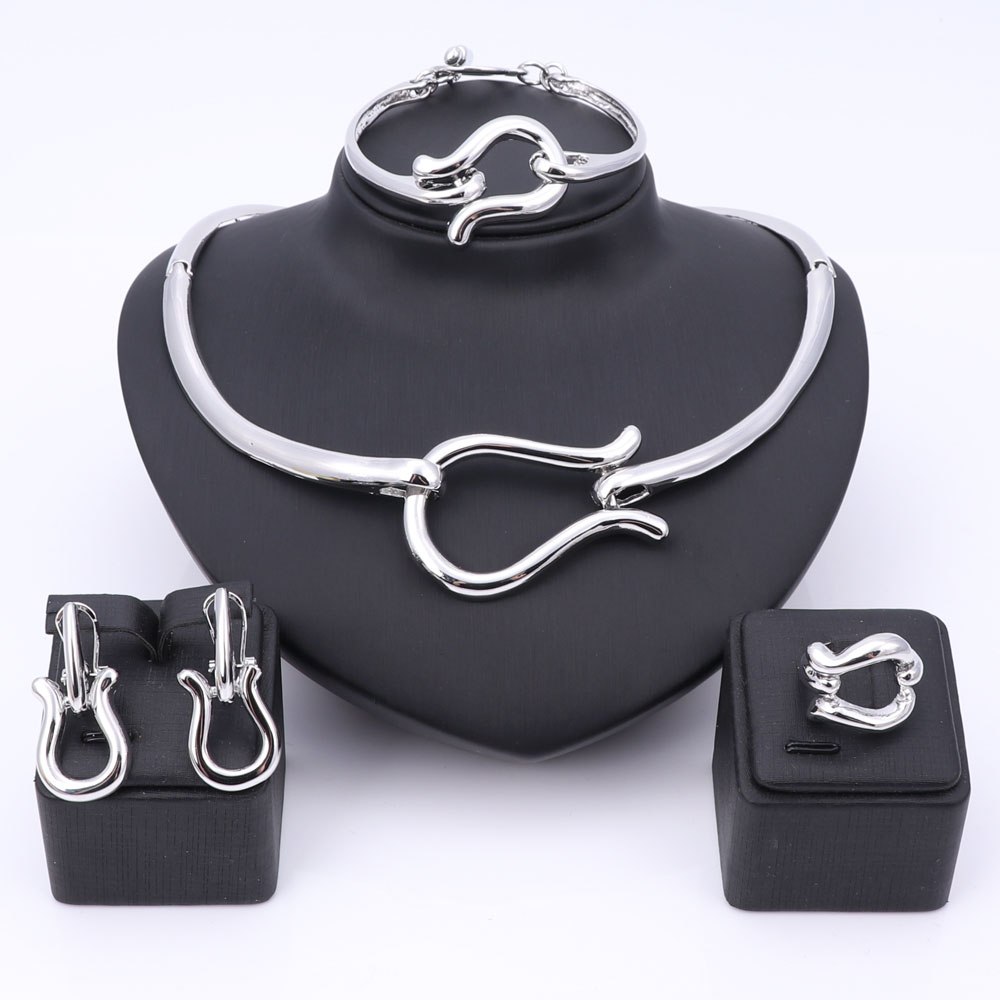 Women African Jewelry Set Silver Plated Fashion Bridal Wedding Elegant Romantic Wedding Necklace Bangle Earring Ring Jewelry Set
