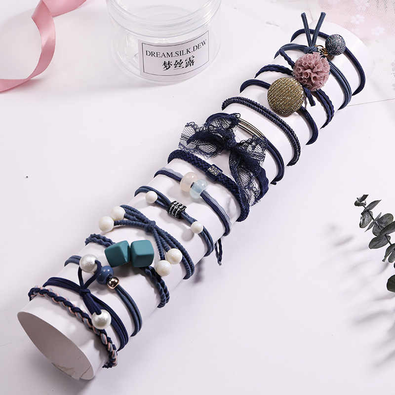 Fashion 8/12/15pcs Women Elegant Elastic Hair Bands Ponytail Holder Rubber Bands Girls Cute Scrunchie Headbands Hair Accessories