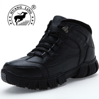 2017 HUANGLING Winter Men Snow Boots Genuine Leather Lace Up Comfortable Warming Fashion Men Boots