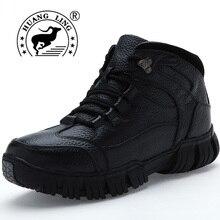 Huangling Мужские зимние ботинки модный топ качество Мужская обувь Настоящая кожа Кружева на шнуровке удобные теплые рабочие ботинки Martin