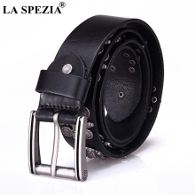 LA SPEZIA Pin Buckle Belt Men Real Leather Streetwear Male Black Rock Genuine Cowhide Square Punk Skull