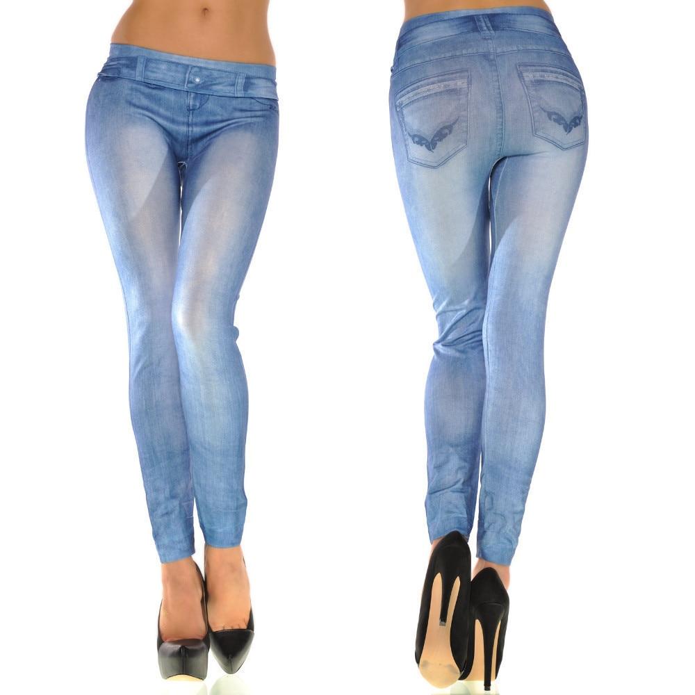 f37c669d29 Faux Denim Jeans Leggings Whitening Print Leggings Women Imitation Jean  Slim Fitness Leggings Elastic Seamless Workout Leggins