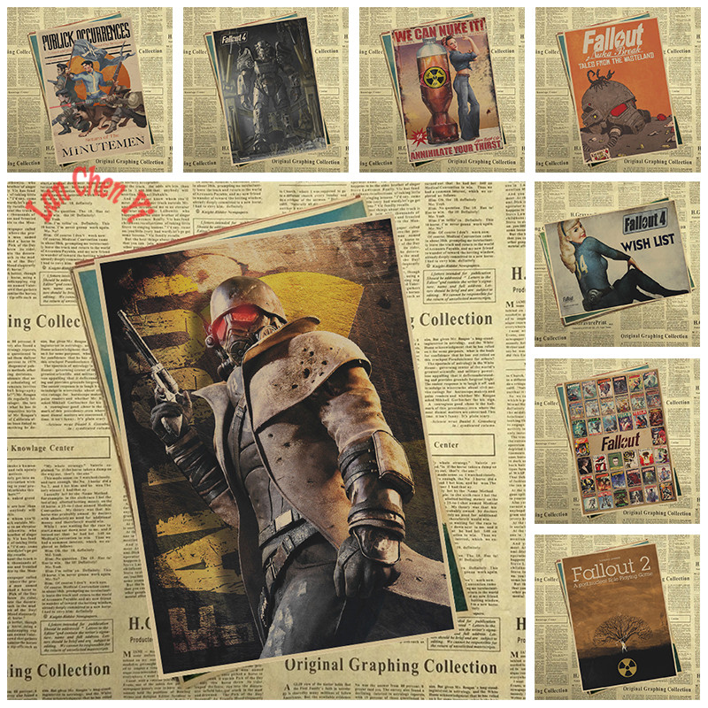 Fallout Classic Series Nostalgic Matte Kraft Paper Poster Office Gift Room Dining Home Decor wall sticker Design