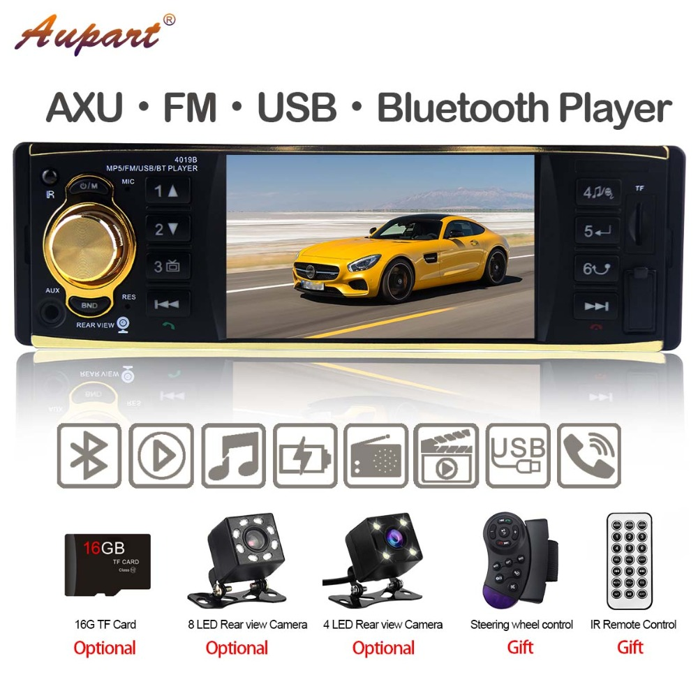 multimedia Car Radio 1 din autoradio with Rear View Camera car mp5 player Auto Audio 4'' stereo Bluetooth USB AUX backup 4019B-in Car Multimedia Player from Automobiles & Motorcycles