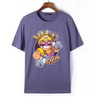 Flevans 2017 Nieuwe Mode Zomer Mannen T-shirts Super Mario Bros Wario Print T-shirt Cartoon Grappige Hiphop t-shirts Merk Colthing