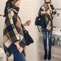 2016 Otoño Invierno Moda Mujeres celosía Suelto Abrigo de Lana chaqueta larga de las mujeres de Corea capa casaco feminino abrigos mujer abrigo