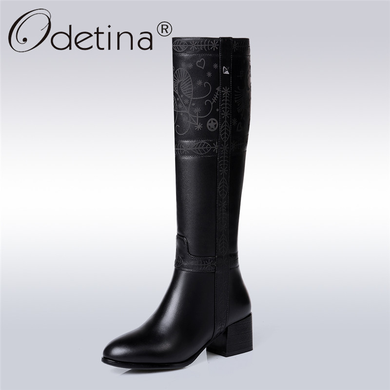Фото Odetina Brand 2017 Fashion Genuine Leather Womens Riding Boots Chunky Heel Knee High Boots Wide Half Winter Shoes Plus Size 45