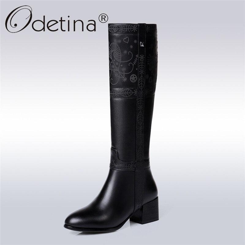 Odetina Marque 2017 De Mode En Cuir Véritable Femmes Équitation Bottes Chunky talon Genou Haute Bottes Large Moitié D'hiver Chaussures Plus La Taille 45