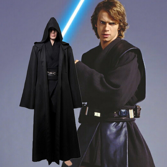 Star Wars Anakin Skywalker Cosplay Costume Jedi Knight Hooded Cloak Robe Halloween Costumes Uniform for Adult Men full set