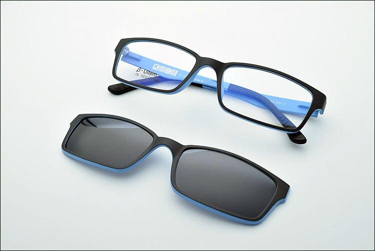 Ультра-светильник, вольфрам, титан, оправа для очков, 3D магнит, зажим, солнцезащитные очки, близорукость, функциональные очки, поляризационные, JKK 79 - Цвет оправы: Black Blue