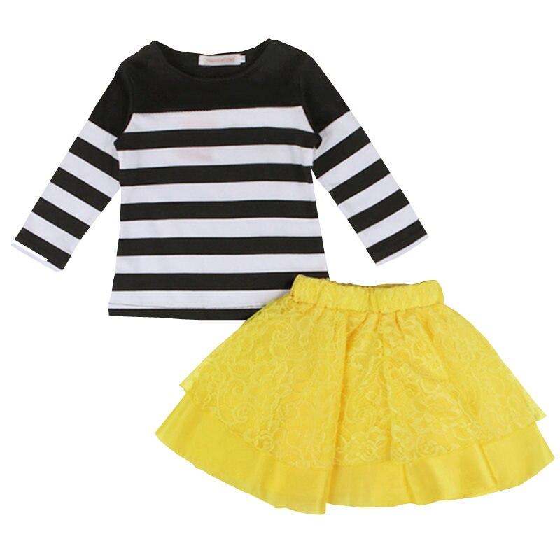 Toddler Kids Baby Girls 2 Pcs Clothes Set Long Sleeve Striped T-shirt Tops+ Yellow Lace Tutu Skirt Outfits 2018 New Arrival girls baby long sleeve tops t shirt bib cartoon minnie 2pcs outfits set 1 5y