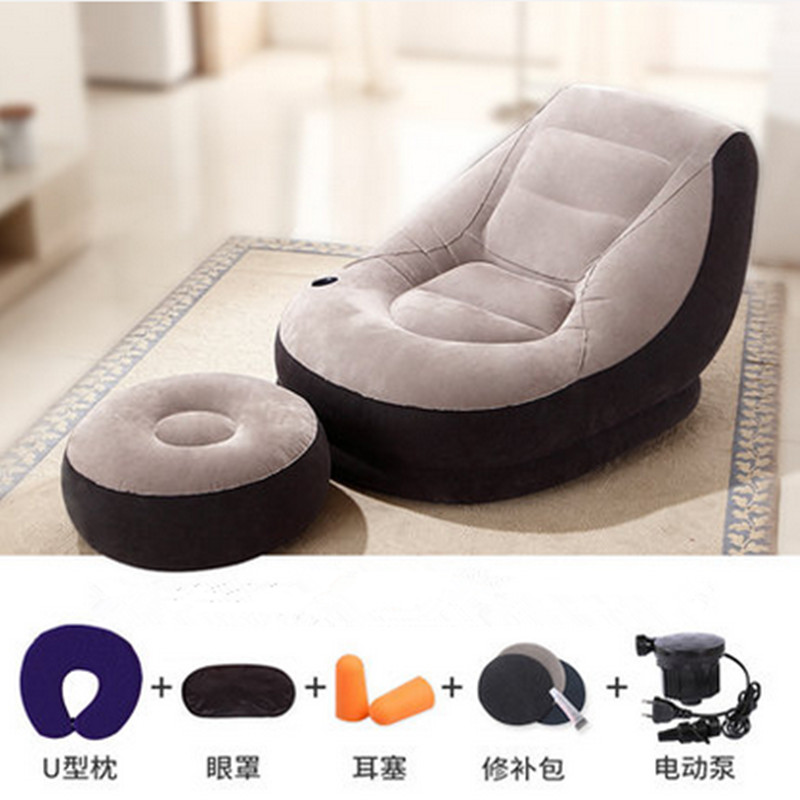 110CM*95CM*76CM Inflatable Soft Bed With Footstool Bed Beanbag Folding Softs Bedroom Furniture Free Shipping sofa cama inflable