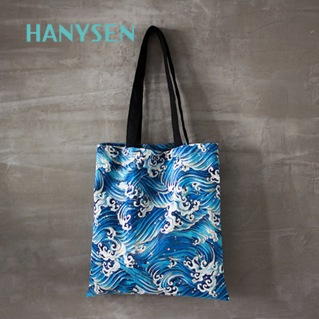 Hanysen 2017 Hot Summer Simple Waves Paisley Pattern Printing Handbags Solid Blue Versatile Fresh Art