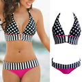 2016 Swimwear Women wave spot High Waist Bikini Set Swimsuit Push Up Swimwear Bathing Suit Lady Beachwear Bikini