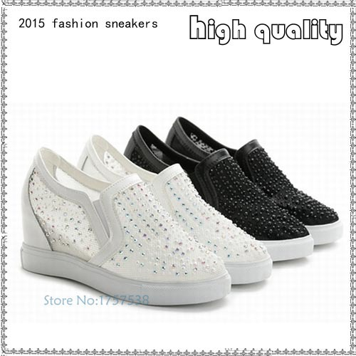 Summer Women Casual Hidden Heel Mesh Platform Wedge Slip On Loafres Sports Shoes