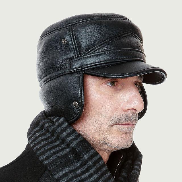 Ano novo homem chapéu morno do inverno idosos cap ouvido cashmere engrossado ao ar livre chapéu de basebol chapéu de papai Noel cap B-0660