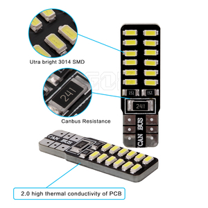 Image 3 - Bombilla led canbus para coche, T10 Canbus, 24led, 3014smd, w5w, t10, Smd, 100 t10, 24smd, sin errores Obc, 194 Uds. Por lote, venta al por mayor