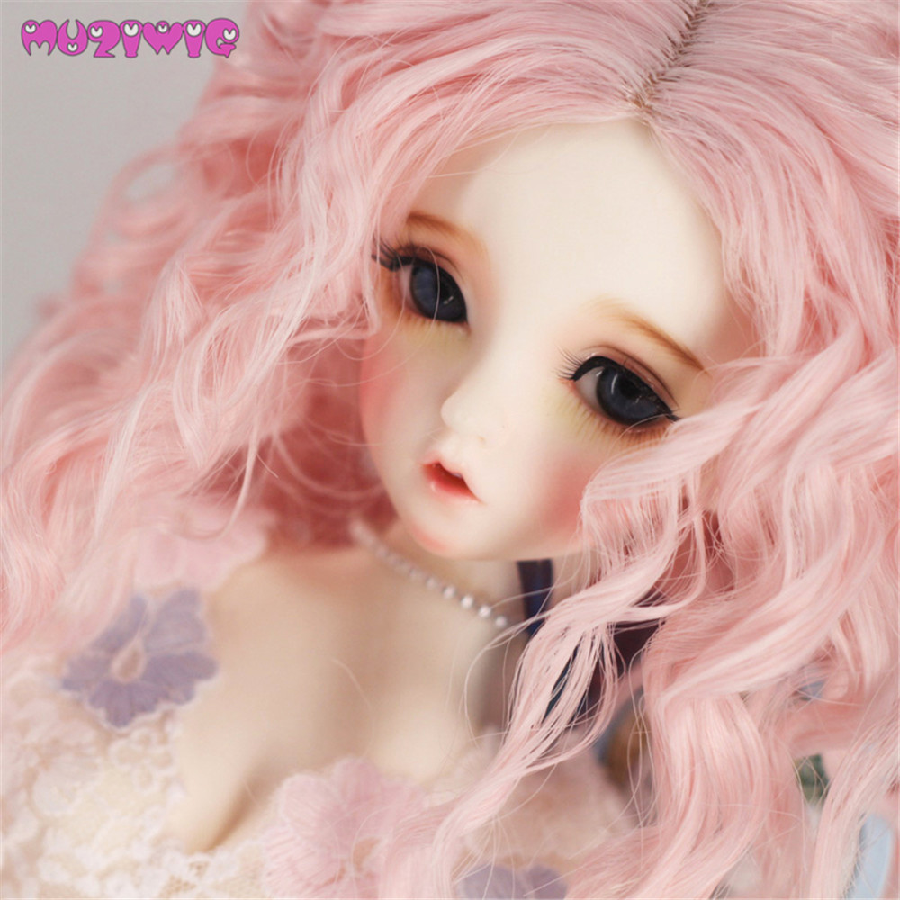 MUZIWIG Synthetic Fiber Pink Color Long Deep Spiral Curly Hair Wigs for 1/3 1/4 1/6 bjd SD Dolls Wigs Accessories beioufeng 22 24cm 1 3 bjd wig long curly wigs accessories for dolls synthetic doll hair deep coffee color doll wig for dolls