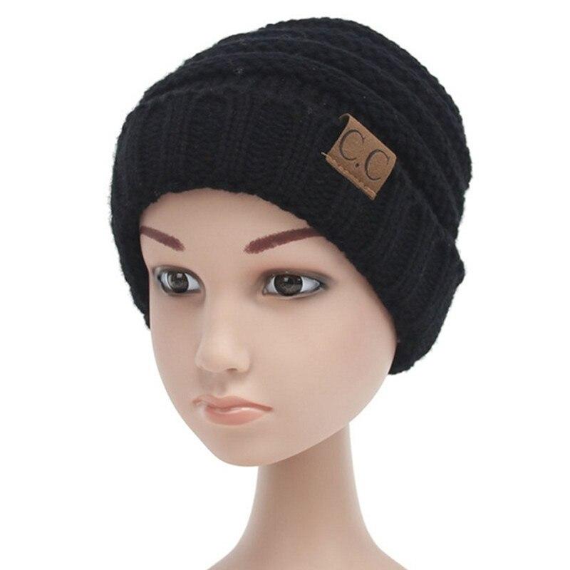 7e0deac44b1 Baby Kids CC Beanie Hat Winter Messy Bun Knit Hats Toddler Woolen ...
