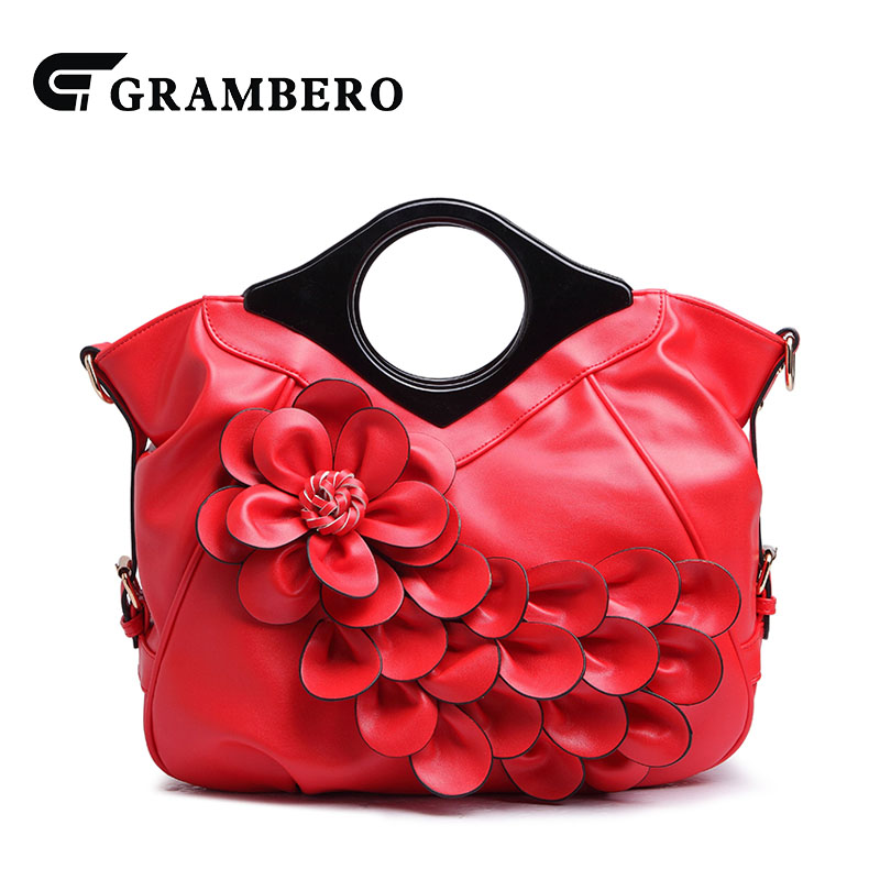 Fashion Women Evening Bag Soft PU Leather Zipper Flower Bride Top-handle Bag for Wedding Gift Lady Solid Crossbody Shoulder Bags