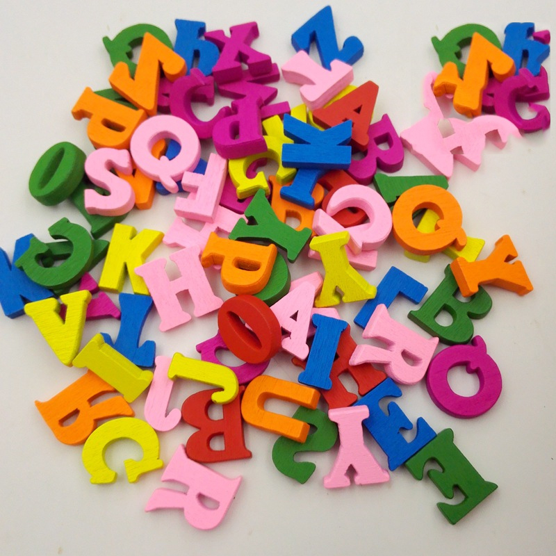 100pcs Kids Educational Wooden Toys Wood Letter Alphabet Word DIY Craft Toys For Baby Girls Boys Scrapbooking Decoration Gift